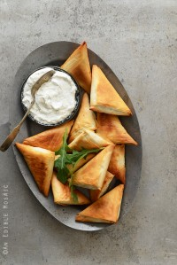 Crispy Baked Kale Phyllo Triangles with 3-Ingredient Feta Yogurt Dip