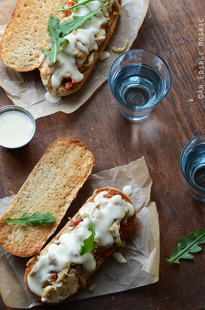Italian Sundried Tomato, Garlic, and Rosemary Chicken Hoagies with Melted Fontina Sauce 4