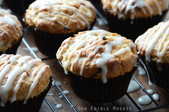 Front View of Oatmeal Golden Raisin Muffins