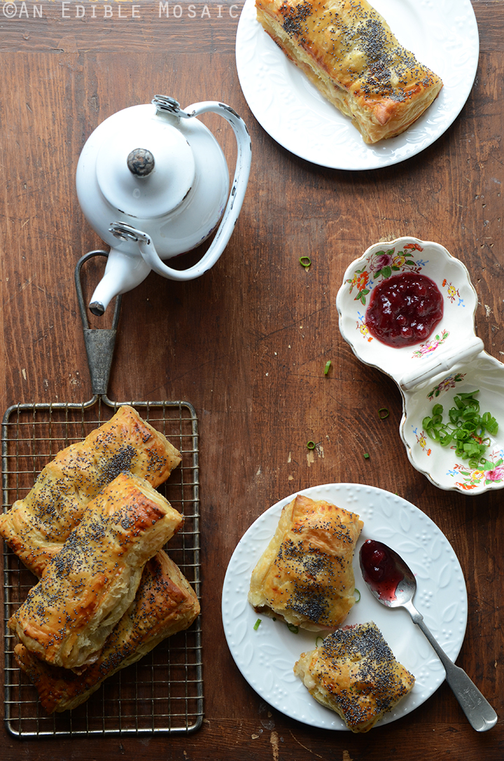 Savory Camembert Turnovers with Honey-Roasted Turkey and Lingonberry Jam