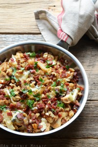 Blue Cheese, Chicken, and Cauliflower Skillet with Bacon, Walnut, and Date Topping