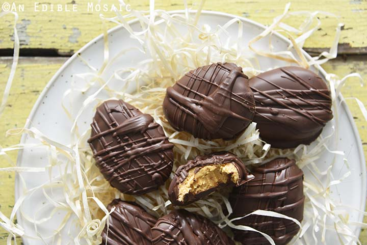 Peanut Butter Easter Eggs with Straw on White Plate
