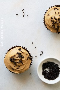Vanilla Bean Guinness Cupcakes with Salted Caramel Coffee Buttercream {Small-Batch}