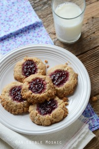 Coconut, Almond, and Raspberry Jam Thumbprint Cookies Recipe {Plus a Q&A with Earthbound Farm Founder Myra Goodman and a Giveaway of Her Cookbooks}