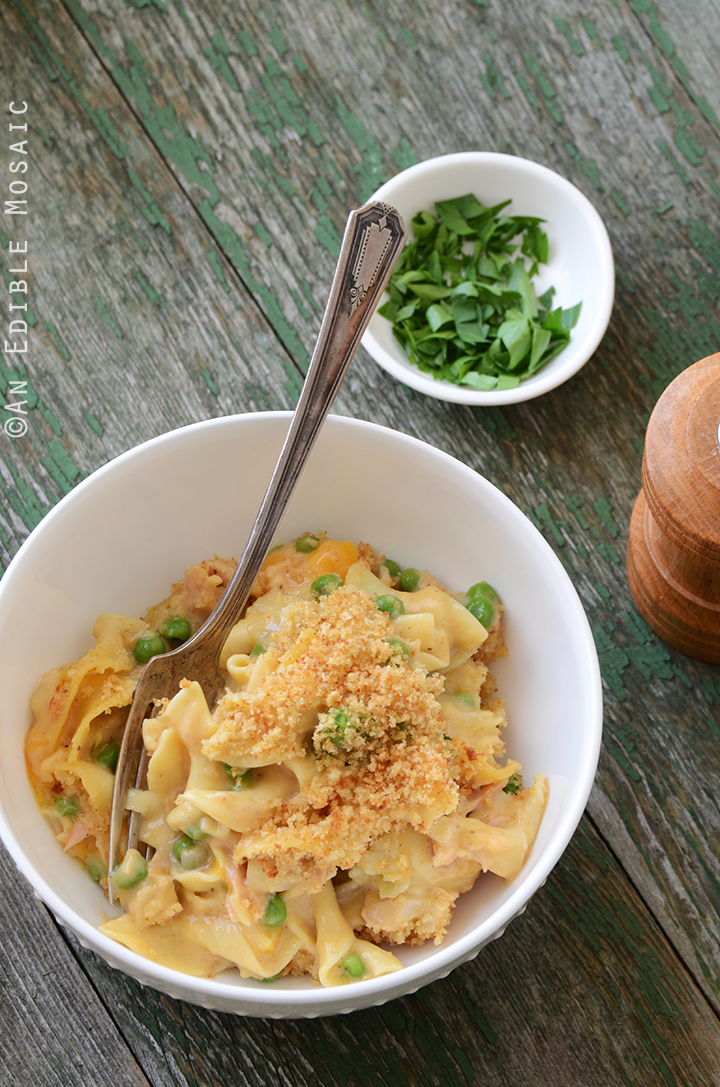 Old Bay-Spiced Cheesy Tuna Noodle Casserole with Buttered Toast Topping 2