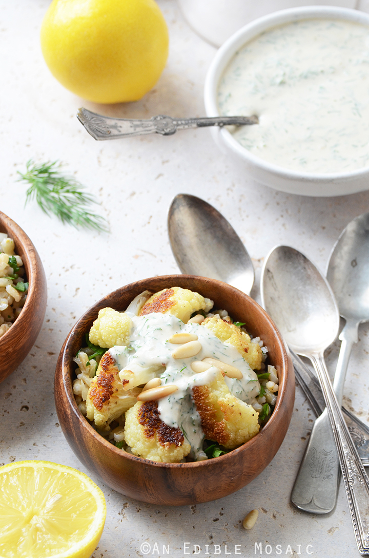 Roasted Cauliflower and Pearl Barley Bowls with Creamy Tahini-Dill Dressing 2