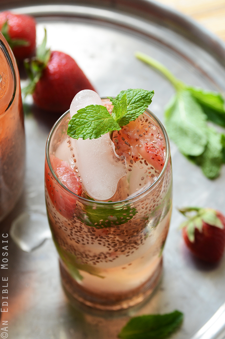 Strawberry Chia Seed Iced Green Tea