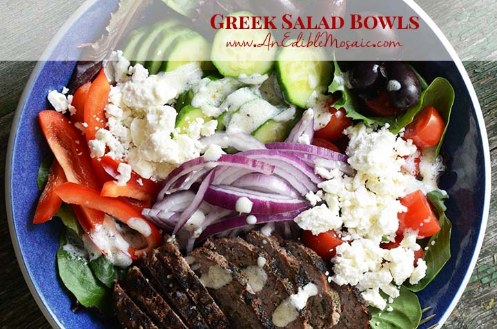 Greek Salad Bowls with Description