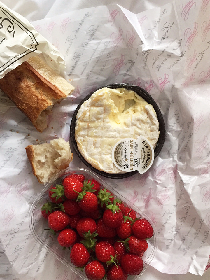 Bread Cheese and Strawberries Lunch