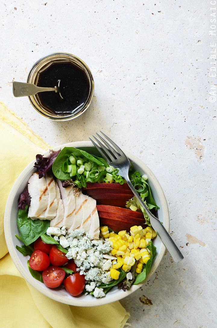Grilled Chicken Salad with Corn, Peaches, Blue Cheese, and Balsamic-Honey Syrup 2