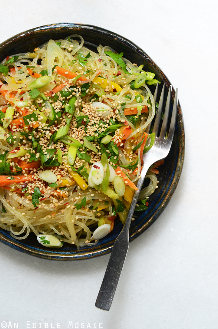 Sesame-Soy Arrowroot Noodles with Stir-Fried Vegetables {Plus a Q&A with GoMacro Founder and a MacroBar Giveaway}