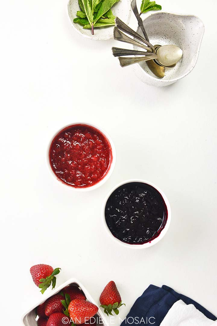 strawberry sauce and blueberry sauce