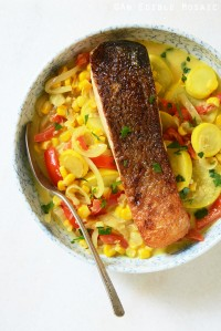 20-Minute Thai-Inspired Summer Vegetable Curry with Seared Salmon