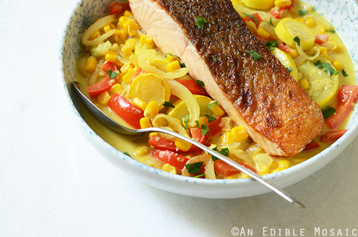 20-Minute Summer Vegetable Curry with Seared Salmon 3
