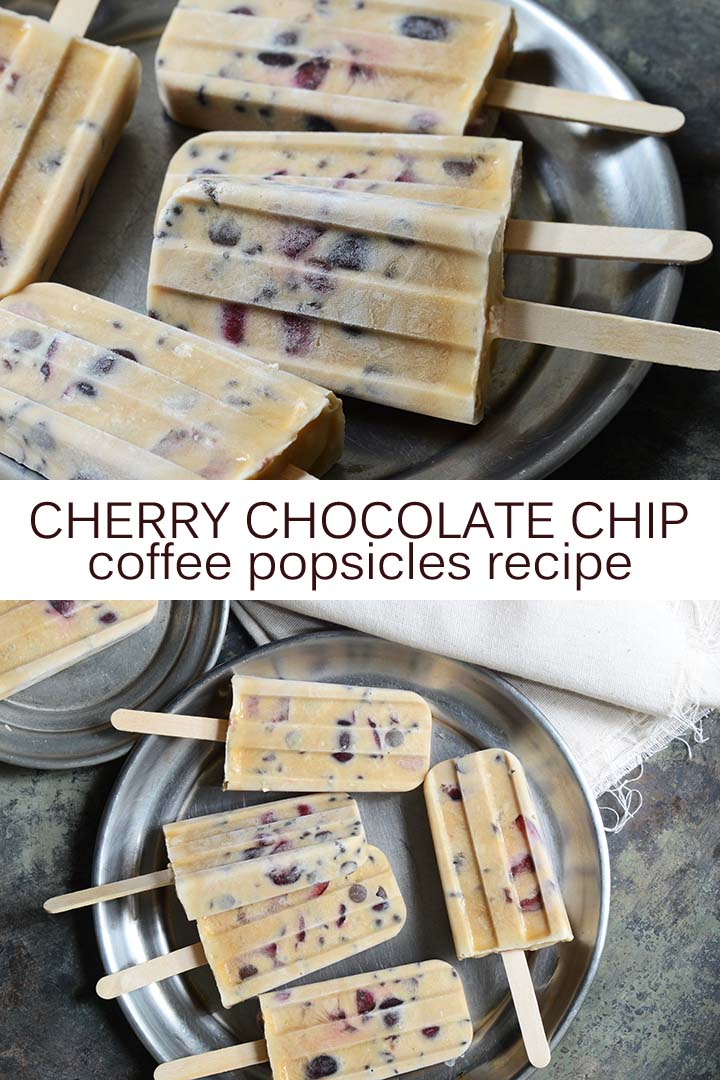 Cherry Chocolate Chip Coffee Popsicles Recipe Pin