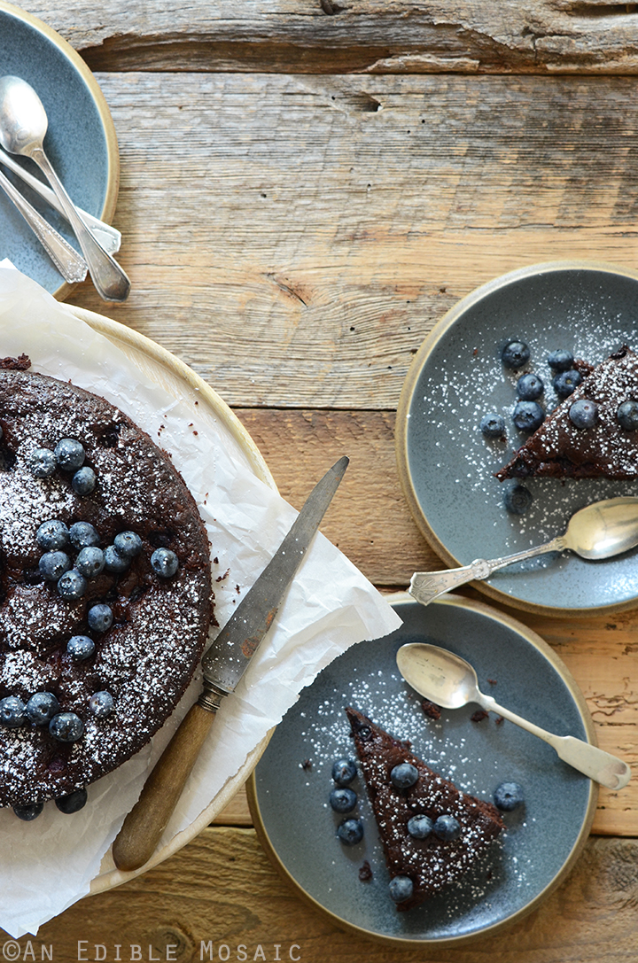 Dark Chocolate Olive Oil Cake with Blueberries and Ginger 1