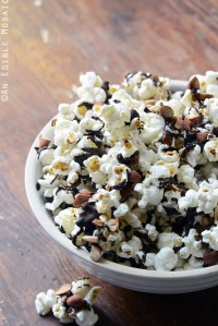 Easy Chocolate-Drizzled Coffee Popcorn with Toasted Almonds Recipe