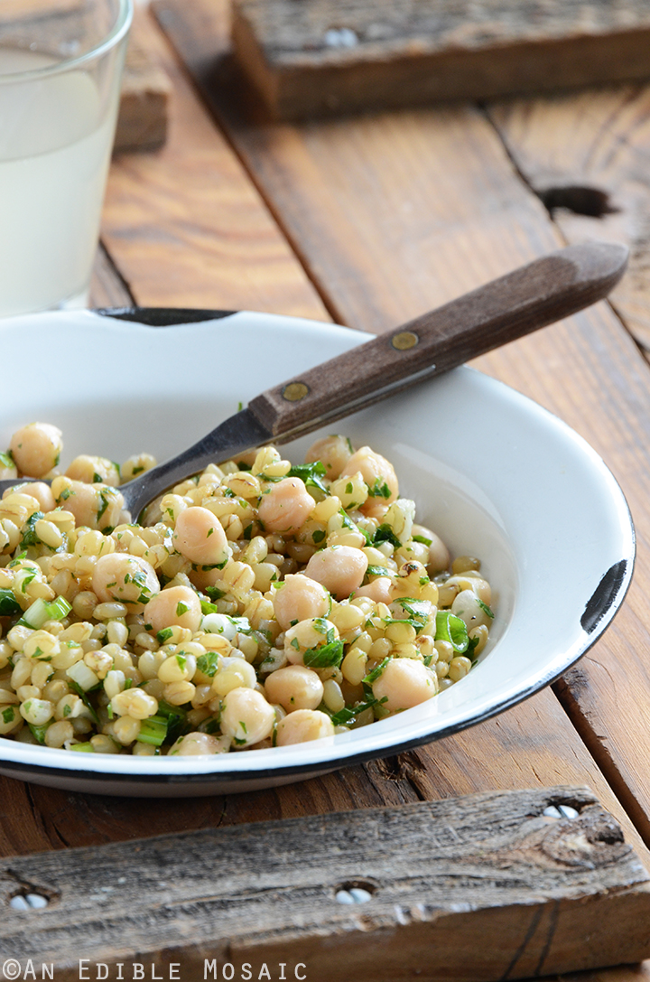 Lemony Chickpea and Herb Wheat Berry Salad