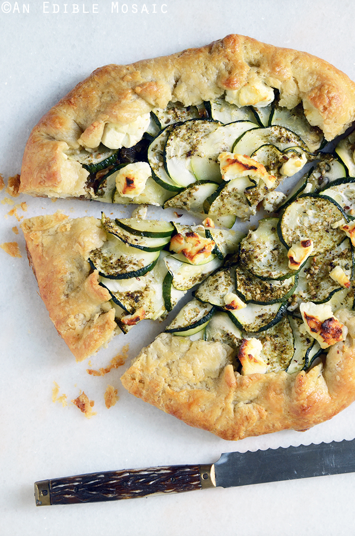 Za'atar and Caramelized Onion Zucchini Galette with Goat Cheese Recipe