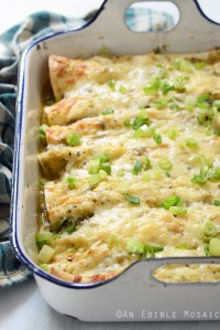 Creamy Chicken and Kale Enchiladas with Salsa Verde {Plus a Q&A with Fifty Shades of Kale Author Jennifer Iserloh and a Giveaway of Her Cookbook}