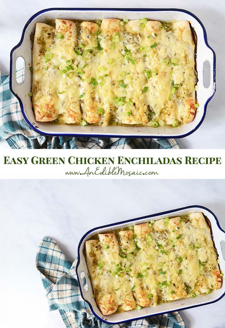 Easy Green Chicken Enchiladas Recipe Pin