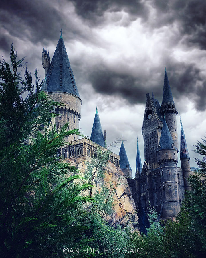 dark and stormy hogwarts castle at universal studios