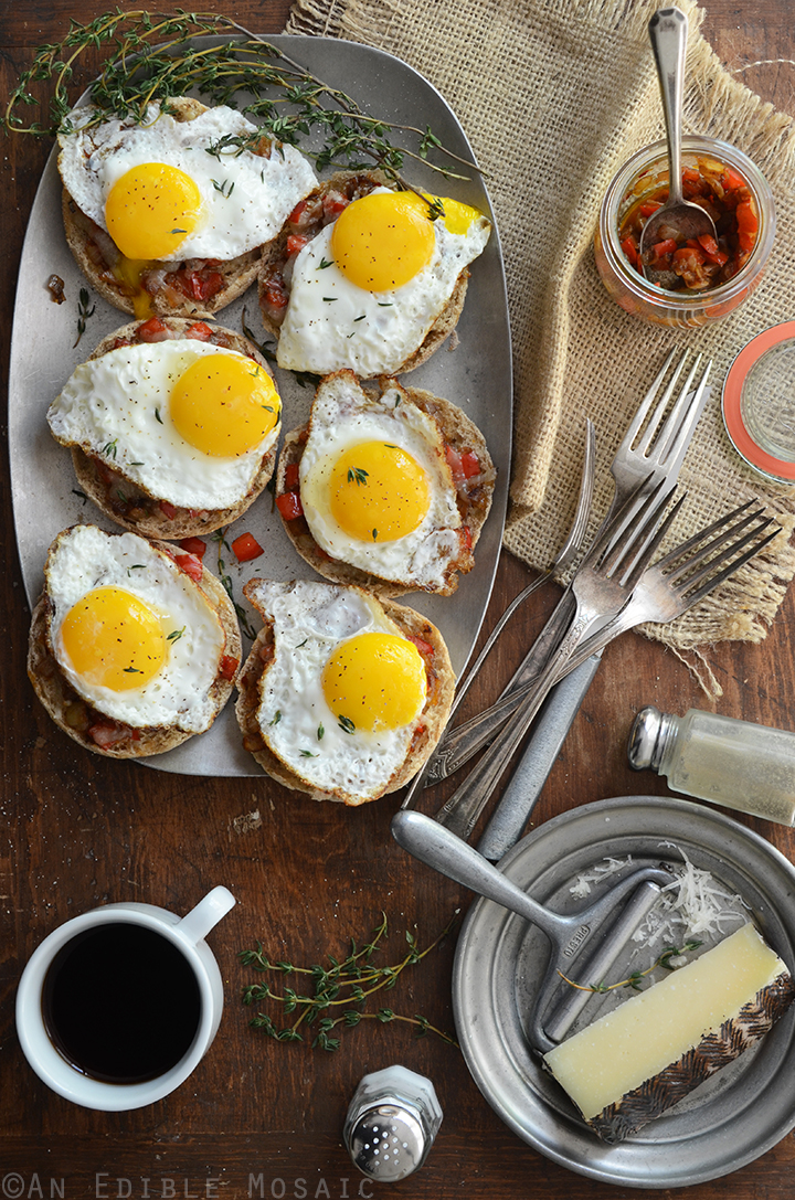 Cheesy English Muffins with Smoky Balsamic Red Pepper Compote and Fried Eggs