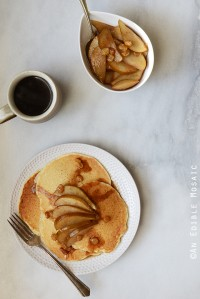 Fluffy Seltzer Water Pancakes with Quick Spiced Maple-Pear Compote