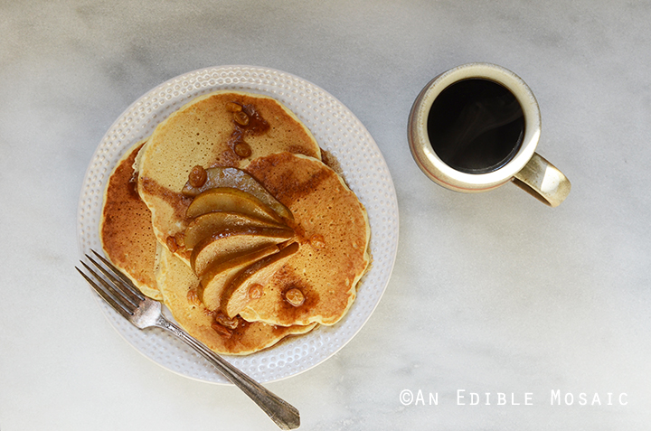 Fluffy Seltzer Water Pancakes with Quick Spiced Maple-Pear Compote 3