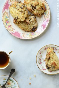 Vanilla Bean Caramelized Pear Scones with Dark Chocolate Chunks