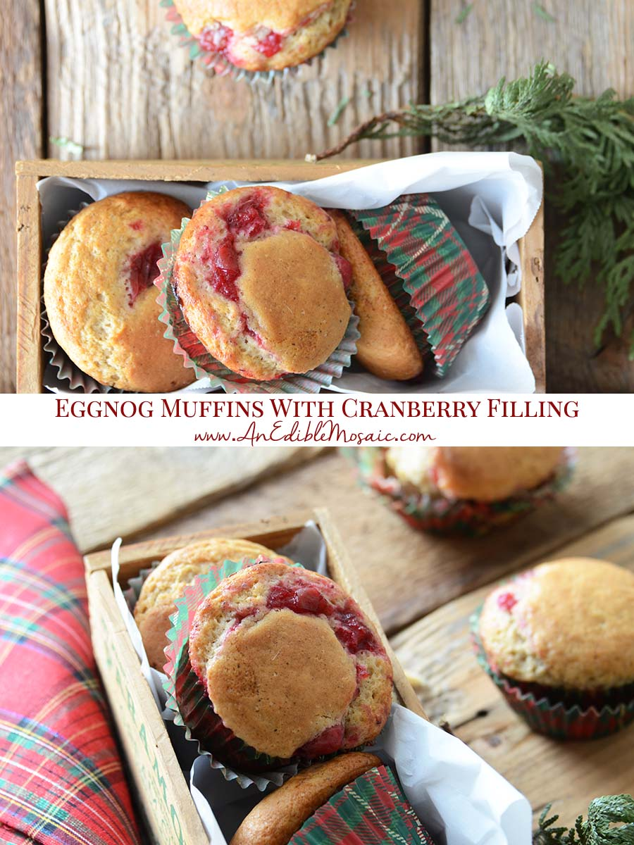 Cranberry Eggnog Muffins Recipe Pinnable Image