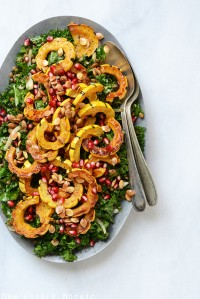 Detox Roasted Delicata Squash, Pardina Lentil, and Kale Salad with Maple-Pear Balsamic Vinaigrette {Vegan}
