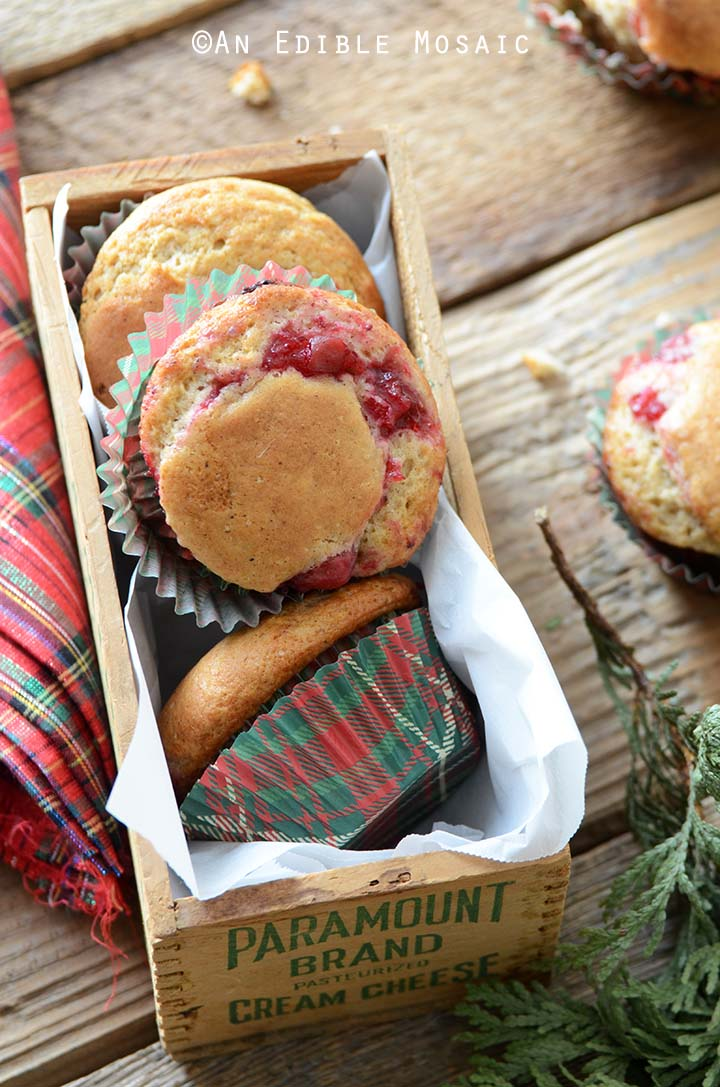 Eggnog Muffins Recipe in Wooden Box on Wooden Table with Red and Green Linen