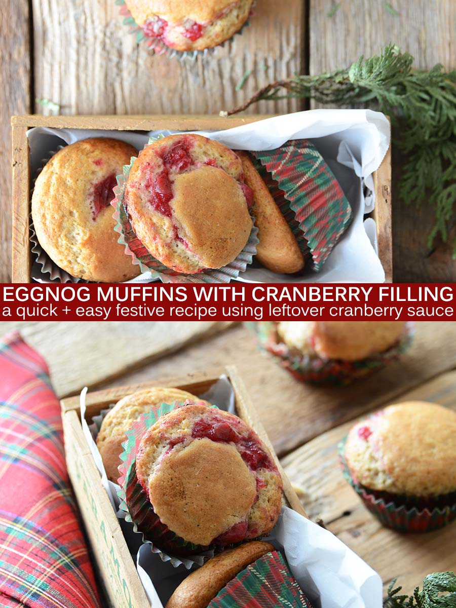 Eggnog Muffins with Cranberry Filling Pin