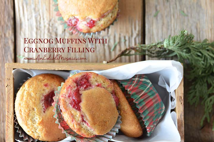 Eggnog Muffins with Cranberry Filling with Description