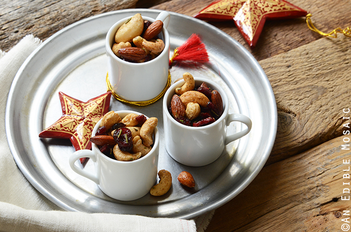 Festive Vanilla Bean Mixed Nuts with Rosemary and Cranberries 2