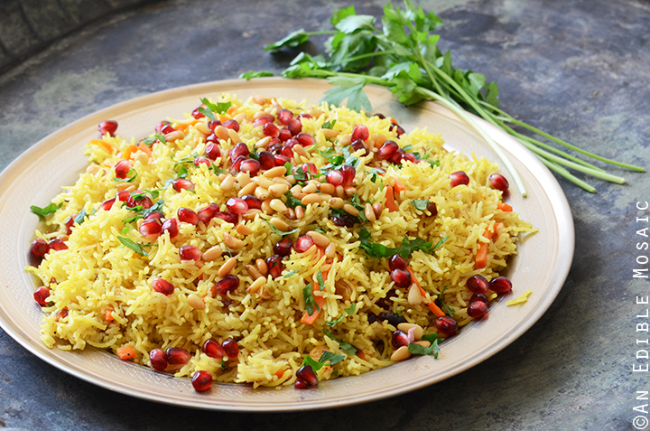 Jewel-Toned Sweet and Savory Basmati Rice Pilaf with Pomegranate 3
