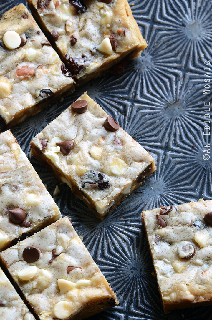 Cherry-Almond Brown Butter Blondies with White and Dark Chocolate Chips 2