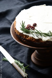 Gluten-Free Cherry Almond Cake with Rosemary Vanilla Bean Buttercream {A Downton Abbey-Inspired Wedding Cake}