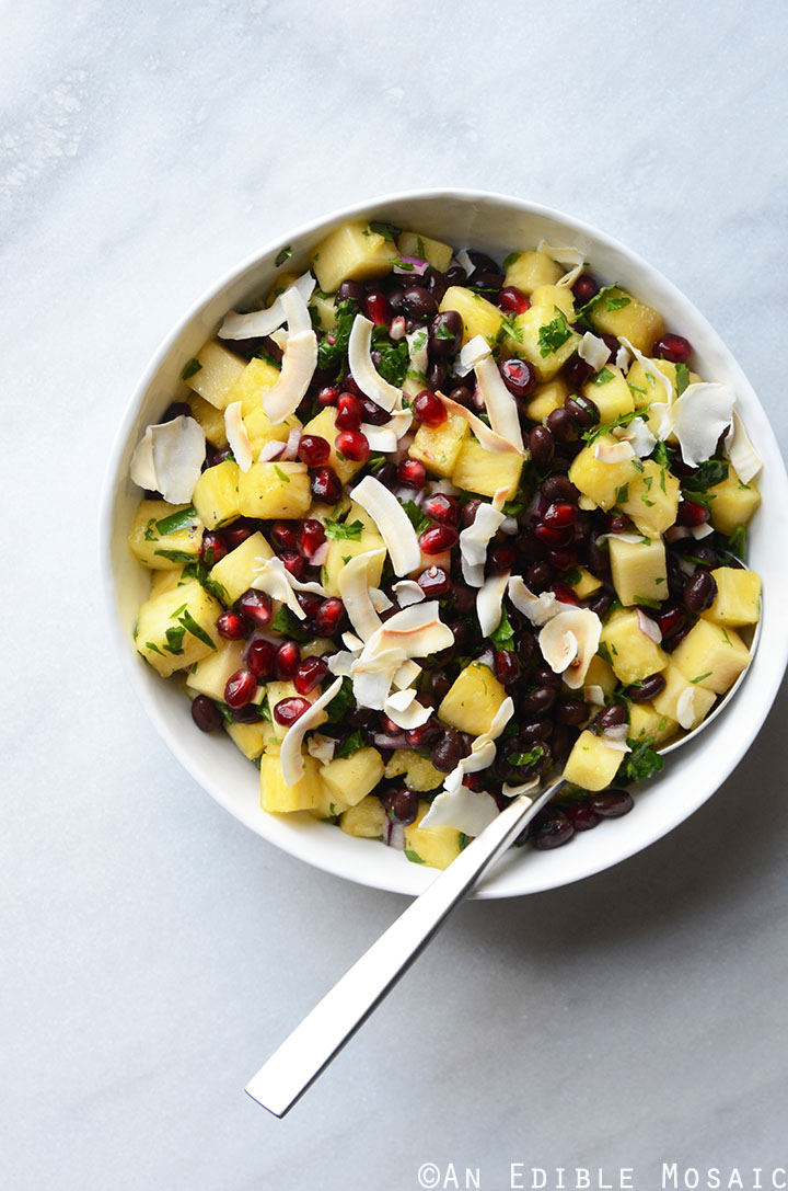 Pineapple Black Bean Salad with Pomegranate Arils and Coconut Chips {Vegan} 1