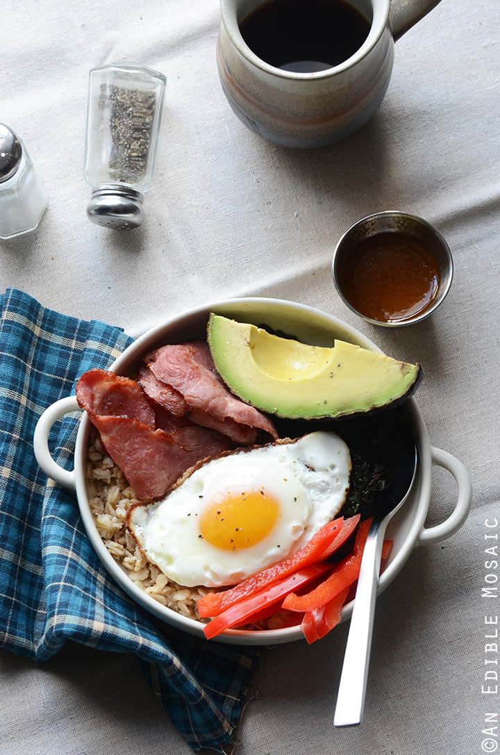 Savory Oatmeal Breakfast Bowls with Smoky Garlic Greens and Chipotle-Honey Vinaigrette 1