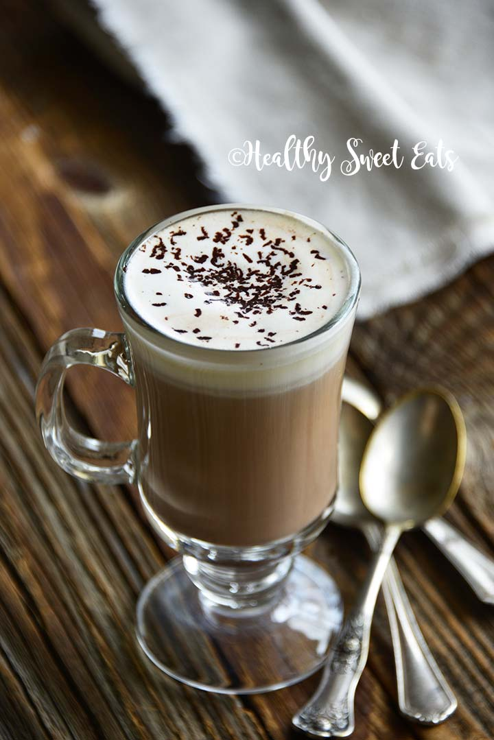 5 Minute Low Carb Hot Chocolate Recipe Front View with Vintage Spoons