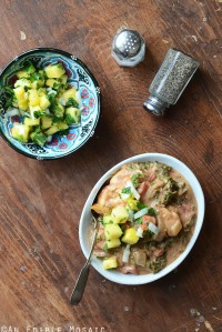 Almond Butter Chicken Stew with Pineapple-Mint Relish {Whole30}