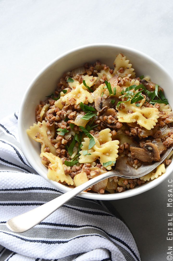 Kasha Varnishkes (Buckwheat Groats with Bowtie Pasta) 2