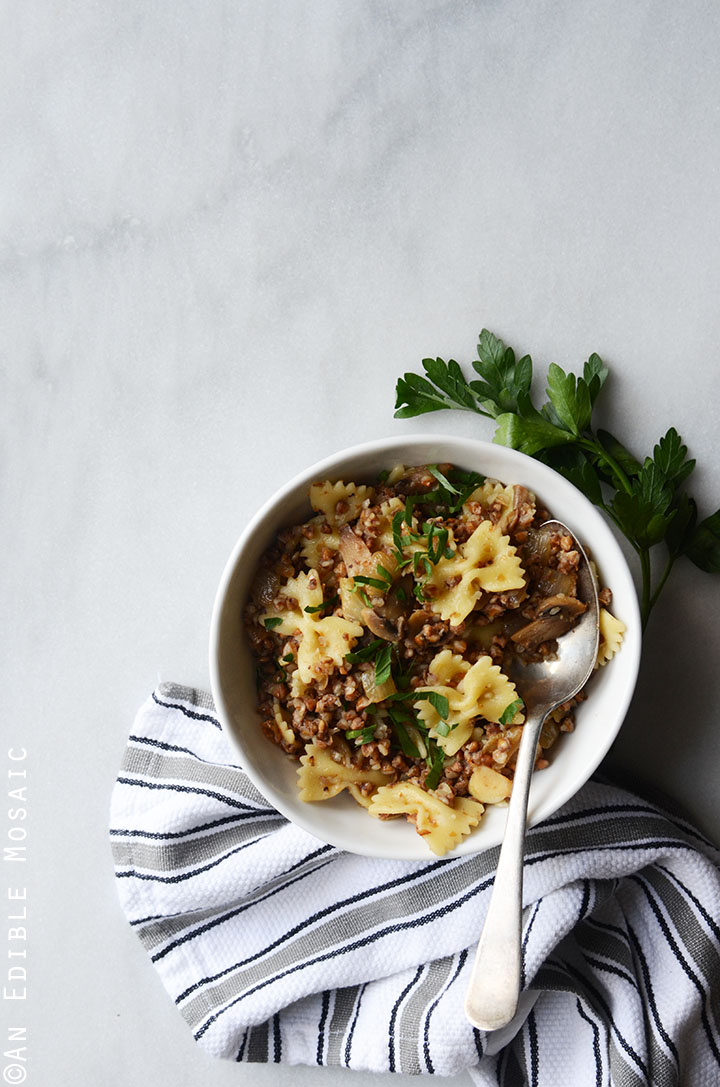 Kasha Varnishkes (Buckwheat Groats with Bowtie Pasta) 3