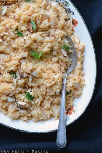 "Smoky Roasted Garlic Cauliflower ""Rice"" with Toasted Almonds {Paleo}"