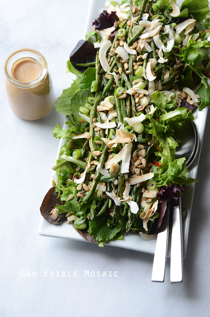 Spring Mix and Roasted Green Bean Salad with Creamy Maple-Miso Dressing 1