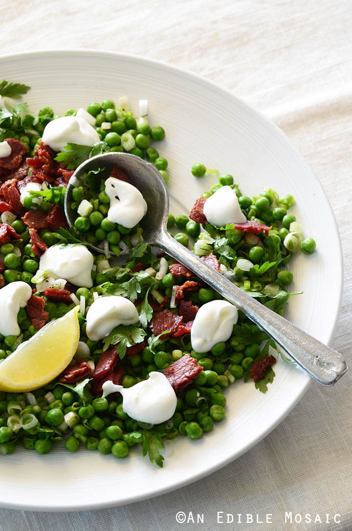 Sweet Pea Salad with Scallion, Bacon, and Lemon Cream Dressing Recipe