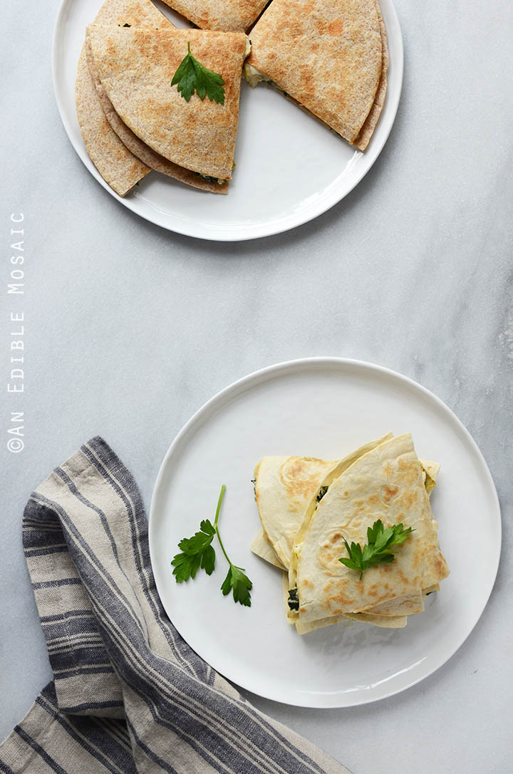 Cheesy Kale-Artichoke Quesadillas {Lactose-Free; Gluten-Free Option} 1