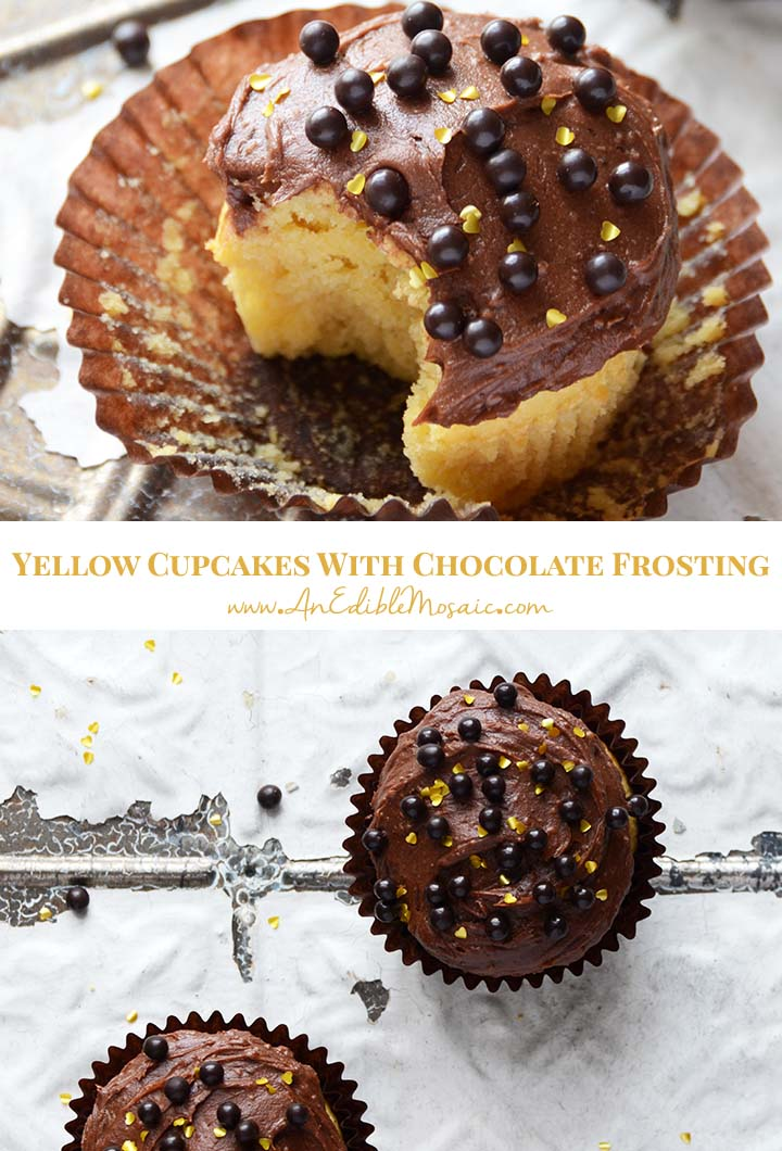 Yellow Cupcakes with Chocolate Frosting Pin